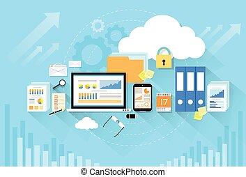 computadora, dispositivo, datos, nube, almacenamiento, seguridad, plano, diseño