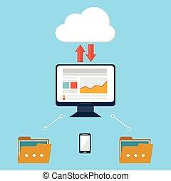 computadora, dispositivo, datos, nube, almacenamiento, seguridad, plano, diseño, vector, ilustración