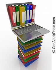 computadora, documentos, carpetas