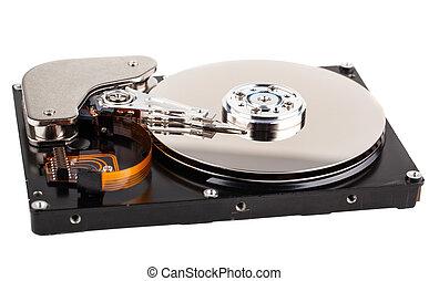 computadora, duro, abierto, unidad