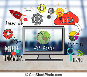 computadora, en, escritorio, con, diseño telaraña, sitio web, página principal, ideas, programación, concepto