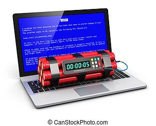computadora, error, concepto