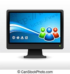 computadora, escritorio, monitor