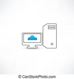 computadora, exhibición, nube