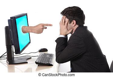 computadora hombre, empresa / negocio, preocupado