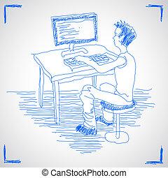 computadora, hombre, trabajando