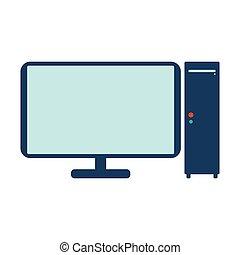 computadora, icon., plano, vector, ilustración, blanco, fondo.