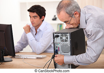 computadora, instalación, aduelo