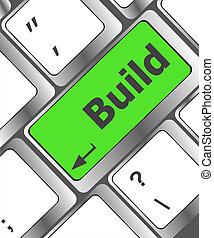 computadora, interpretación, botón, teclado, plano de fondo, construcción, construya, entrar, palabra, concept:, 3d