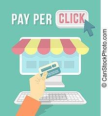 computadora, ir de compras en línea directa