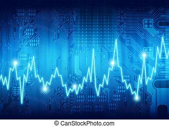 computadora, latido del corazón, digital