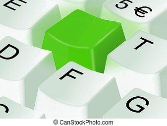 computadora, llave verde