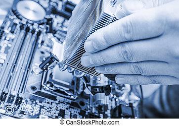 computadora, mano, instalación, astilla