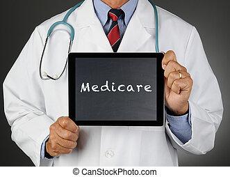 computadora, medicare, tableta, doctor