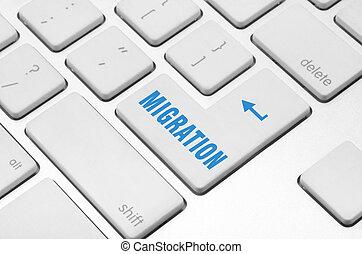 computadora, migración, teclado