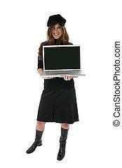 computadora, mujer