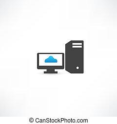 computadora, negro, exhibición, nube