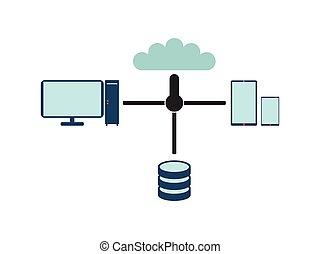 computadora, network., plano, vector, ilustración, blanco, fondo.