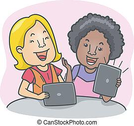 computadora, niñas, tableta
