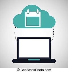 computadora, nube, calendario, conexión, red