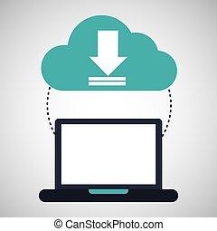 computadora, nube, descargue, conexión, red