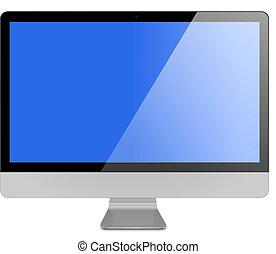 computadora, pantalla plana, metálico