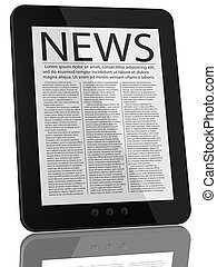 computadora personal tableta, computadora, y, noticias