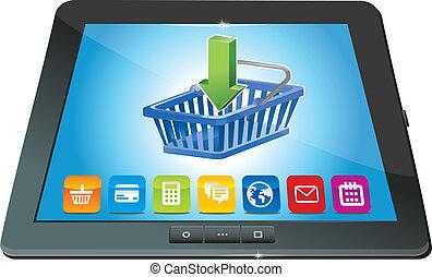 computadora personal tableta, con, carro de compras, icono