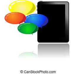 computadora personal tableta, con, globos coloridos