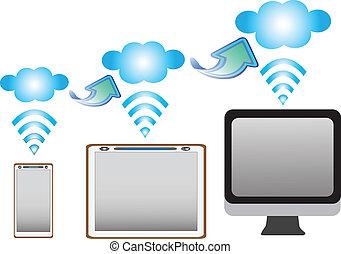 computadora personal tableta, con, móvil, datos, conexión, en, un, blanco, fondo.