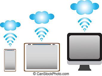 computadora personal tableta, con, teléfono móvil, blanco, plano de fondo