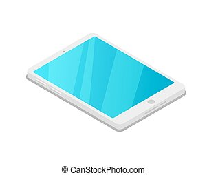 computadora personal tableta, dispositivo, isométrico, 3d, icono