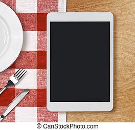 computadora personal tableta, en, tabla de cena