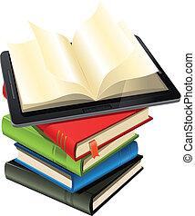 computadora personal tableta, en, un, pila de libro