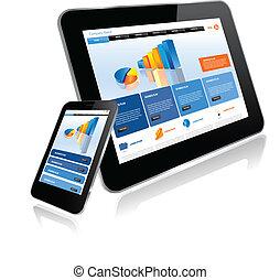 computadora personal tableta, y, elegante, teléfono