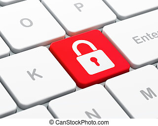 computadora, render, protección, teclado, botón, seleccionado, candado, foco, plano de fondo, cerrado, entrar, icono, concept:, 3d