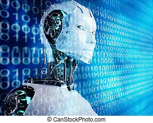 computadora, robot, plano de fondo