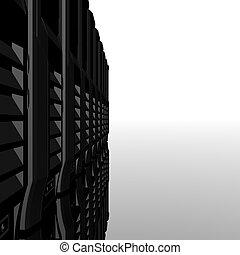 computadora, servidores, consecutivo, aislado, en, un, blanco