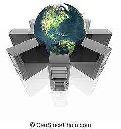 computadora, servidores, en, anillo, aislado, en, un, blanco