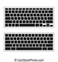 computadora, set., teclado, vector, plantilla, blanco