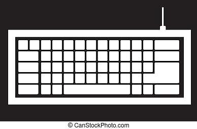 computadora, silueta, teclado