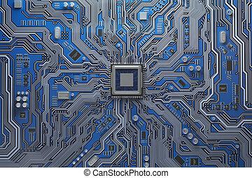 computadora, tablero sistema, con, cpu., tablero de...