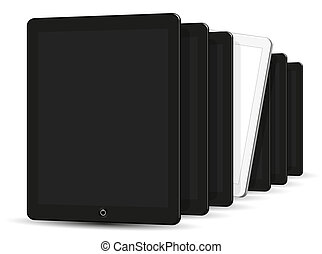 computadora, tablet., ilustración, vector, negro, blanco, 3d