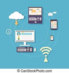computadora, tableta, teléfono, nube, dispositivo, conexión, concepto
