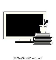 computadora, taza, libros, negro, plumas, blanco