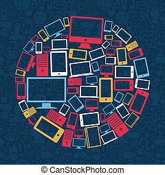 computadora, teléfono móvil, y, tableta, círculo