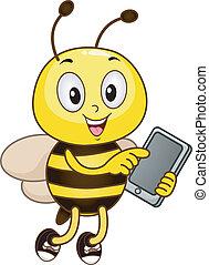 computadora, tenencia, tableta, abeja
