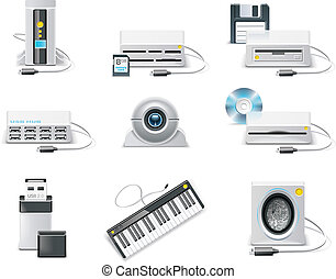 computadora, usb, p.3, vector, icon., blanco