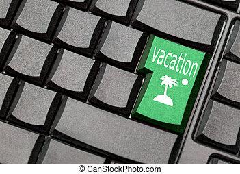 computadora, vacaciones, llave