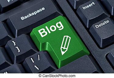 computadora, verde, botón, blog, con, lápiz, internet, concept.